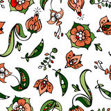 花卉和豌豆煤炭手拉的无缝的样式 库存照片