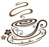 花卉咖啡杯 免版税库存照片