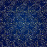花卉在蓝色背景的葡萄酒无缝的样式 库存照片