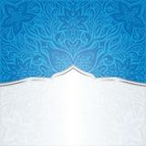 花卉墙纸背景在深蓝的坛场设计与拷贝空间 库存例证