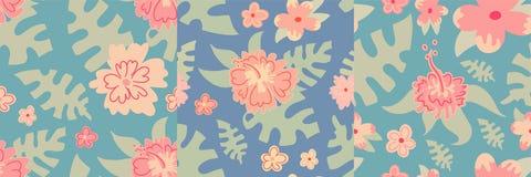花卉夏威夷样式夏天背景热带传染媒介例证无缝的叶子墙纸自然印刷品 向量例证