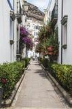 花卉大道的小巷在Puerto在大加那利岛的de Mogan 库存照片