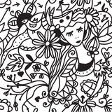 花卉妇女无缝的模式-方式概念 免版税库存图片
