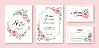 花卉婚姻的邀请,保存日期,谢谢,rsvp卡片设计模板 向量 瑞典玫瑰,银元,事假的女王/王后 向量例证