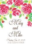 花卉婚礼邀请 水彩 库存照片