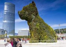 花卉巨型guggenheim小狗雕塑 免版税图库摄影