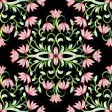 花卉手拉的无缝的样式 黑华丽传染媒介backgr 皇族释放例证