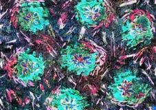 花卉手拉的霓虹设计 免版税库存照片
