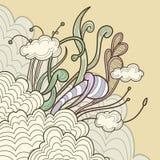 花卉抽象云彩设计要素 皇族释放例证