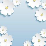 花卉抽象背景, 3d开花樱桃树 免版税库存照片