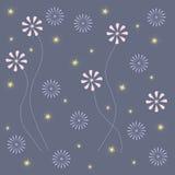 花卉抽象背景 在蓝色背景的浅粉红色和蓝色花与黄色星 免版税库存照片