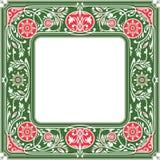 花卉方形的框架 白色空间在中心 库存照片