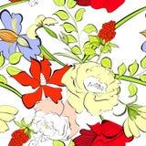 花卉无缝的墙纸 库存图片