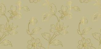 花卉无缝的样式可以为墙纸,织物印刷,卡片使用 花的手拉的不尽的传染媒介例证 皇族释放例证