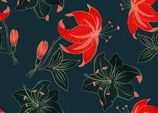 花卉无缝的样式可以为墙纸,织物印刷,卡片使用 花的手拉的传染媒介例证 向量例证