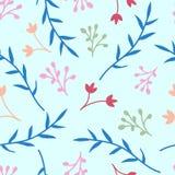 花卉无缝的样式有浅兰的背景,纸的,织品,墙纸编辑背景,装饰de简单的花纹花样 库存例证
