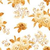 花卉无缝的样式由金黄玫瑰,在白色的分支做成 免版税图库摄影