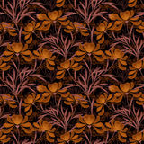 花卉无缝的样式,在黑背景的动画片逗人喜爱的花 图库摄影