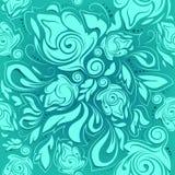 花卉无缝的样式,绿松石抽象背景 图库摄影