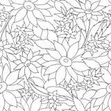 花卉无缝的概述样式 与花的monohrome纹理 库存例证
