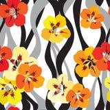 花卉无缝的背景。明亮的花纹花样。 向量例证