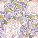 花卉无缝的背景。柔和的花纹花样。 库存照片