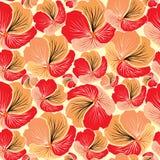 花卉无缝的背景。红色花纹花样。 皇族释放例证