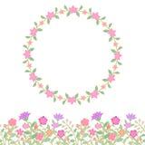 花卉无缝的边界和圆的框架 免版税库存照片
