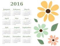 2016年花卉日历模板 星期星期天开始 库存例证