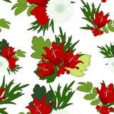 花卉明亮的抽象无缝的背景 红色百合花, gr 库存照片
