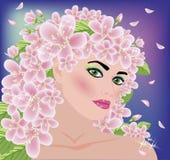 花卉春天美丽的女孩 免版税库存照片