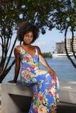 花卉样式礼服的妇女坐公园长椅秀丽非洲发型 免版税库存图片