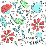花卉样式,乱画开花,传染媒介例证 免版税库存照片