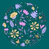 花卉样式,乱画开花,传染媒介例证 库存图片