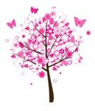 花卉桃红色结构树 库存例证