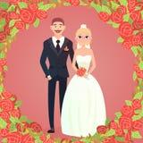 花卉框架动画片婚礼夫妇 免版税库存照片