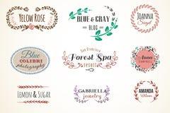 花卉框架和名字收藏 免版税库存图片