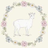 花卉框架和山羊葡萄酒板刻样式 库存图片
