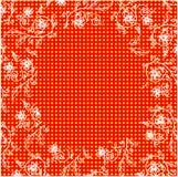花卉框架指向背景 eps10开花橙色模式缝制的rac ric缝的镶边修整向量墙纸黄色 库存照片