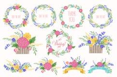 花卉框架收藏 婚姻的集合花,花圈,丝带 免版税库存图片