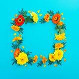 花卉框架由与瓣的黄色和红色花制成在蓝色背景 平的位置,顶视图 背景细部图花卉向量 免版税库存照片