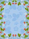 花卉框架草莓 免版税库存照片