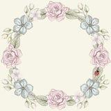 花卉框架葡萄酒板刻样式 免版税图库摄影