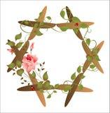 花卉框架葡萄酒 库存照片