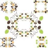 花卉框架集合葡萄酒 库存照片