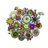花卉框架,您的设计的剪影 皇族释放例证