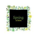 花卉框架,您的设计的剪影 免版税图库摄影