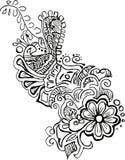 花卉模式孔雀向量 免版税库存图片