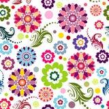花卉模式无缝生动 库存照片
