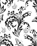 花卉模式无缝的向量墙纸 免版税库存图片